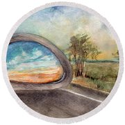 View From The Car Window At Sunset Round Beach Towel