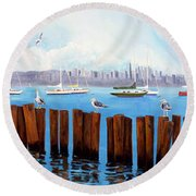 View From The Moshier's Tiki Bar Round Beach Towel