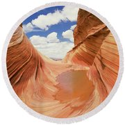 View Of A Canyon, The Wave, Navajo Round Beach Towel