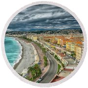 View Of Nice France From Castle Hill Round Beach Towel
