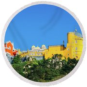 View Of Pena National Palace, Sintra, Portugal, Europe Round Beach Towel