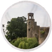 View Of The Blarney Tower Round Beach Towel