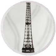 View Of The Construction Of The Eiffel Tower, Paris, 12th February And 12th March 1889 Round Beach Towel