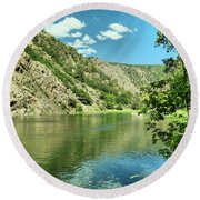 View Of The Gunnison River  Round Beach Towel