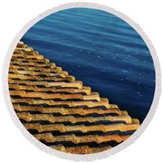 View Of The River From The Rooftop. Algarve Round Beach Towel
