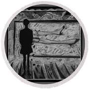 Viewing Supine Woman. Round Beach Towel