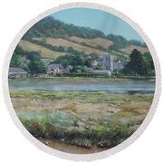 Village Of Axmouth On The River Axe Round Beach Towel
