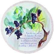 Vine And Branch With Scripture Round Beach Towel