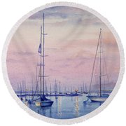 Vineyard Twilight Watercolor Round Beach Towel