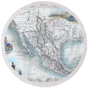 Vingage Map Of Texas, California And Mexico Round Beach Towel