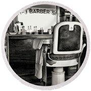 Vintage Barbershop Chair In Black And White Round Beach Towel