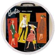 Vintage Barbie Doll Case Round Beach Towel