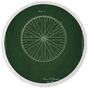 Round Beach Towel featuring the drawing Vintage Bicycle Tire Patent by Dan Sproul