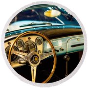 Vintage Blue Car Round Beach Towel