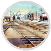 Vintage Color Columbia Rail Yards Round Beach Towel