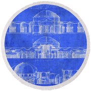 Vintage Constantine Building Architecture Blueprints Round Beach Towel