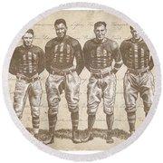 Vintage Football Heroes Round Beach Towel