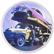 Vintage Ford Car Carrier Round Beach Towel