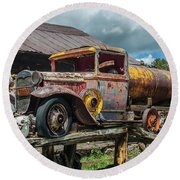 Vintage Ford Tanker Round Beach Towel