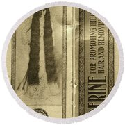 Vintage Hair Care Danderine 2 Sepia Round Beach Towel