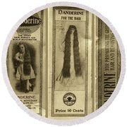 Vintage Hair Care Danderine 3 Sepia Round Beach Towel