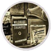 Vintage Ladys Shampoo And More Sepia Round Beach Towel