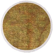 Vintage Map Of Arkansas 1891 Round Beach Towel