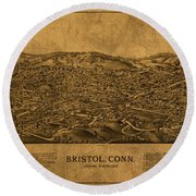 Vintage Map Of Bristol Connecticut 1889 Round Beach Towel