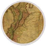 Vintage Map Of Columbia 1818 Round Beach Towel