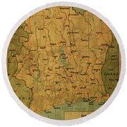 Vintage Map Of Ivory Coast Round Beach Towel