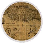 Vintage Map Of Jamaica 1747 Round Beach Towel