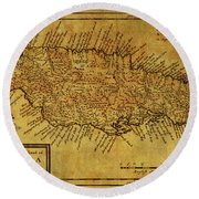 Vintage Map Of Jamaica Round Beach Towel