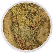 Vintage Map Of North America 1858 Round Beach Towel