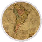 Vintage Map Of South America 1715 Round Beach Towel