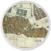 Vintage Map Of St Croix  Round Beach Towel