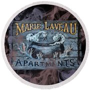 Vintage Marie Laveau Aparments Sign Round Beach Towel