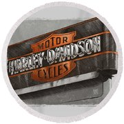 Round Beach Towel featuring the drawing Vintage Motorcycle Shop by Clint Hansen