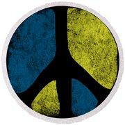 Vintage Peace Sign Round Beach Towel