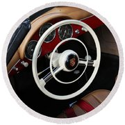 Vintage Red Convertible Interior Round Beach Towel