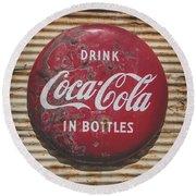 Vintage Soft Drink Sign Round Beach Towel