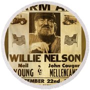 Vintage Willie Nelson 1985 Farm Aid Poster On Wood Grain Round Beach Towel