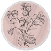 Violet Blush Pink Flower Round Beach Towel