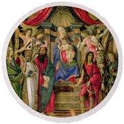 Virgin And Child With Saints From The Altarpiece Of San Barnabas, Round Beach Towel