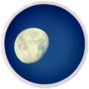 Round Beach Towel featuring the photograph Virgo Moon Three Quarters by Judy Kennedy