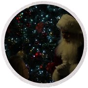 Round Beach Towel featuring the photograph Visit With Santa by Colleen Cornelius