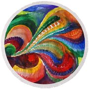 Vivid Abstract Watercolor Round Beach Towel