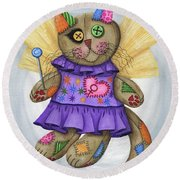 Voodoo Empress Fairy Cat Doll - Patchwork Cat Round Beach Towel