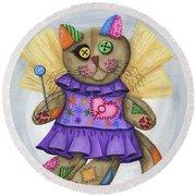 Voodoo Empress Fairy Cat Doll - Patchwork Cat Round Beach Towel