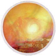 Round Beach Towel featuring the painting Vortex Of Light by Valerie Anne Kelly