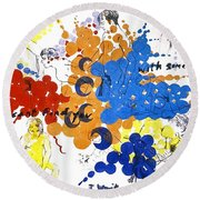 Round Beach Towel featuring the painting Vulnerability  by Rene Capone